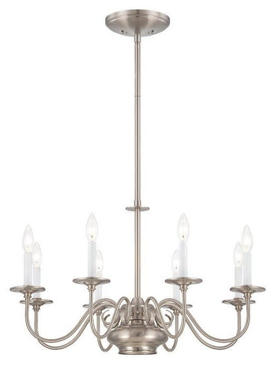 Savoy House Bancroft 8-Light Chandelier In Satin Nickel - The Bancroft Collection from Savoy House takes Classic Americana Styling And Updates It With A Fresh Twist. The Chandeliers Feature An Independently Controlled Mr16 Downlight To Highlight Your Tabletop, And The Satin Nickel Finish Adds A Glow To Your Homes Decor. Soft White Candle Covers Included. (Available in 5-light varieties too)