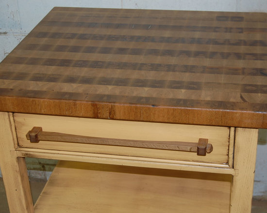 Rolling Butchers Block - Rolling Butchers Block.  Featuring end grain white oak butchers block, and  hand made white oak pulls.  (sorry about the photos)