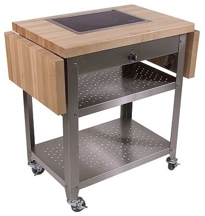 Pro Chef Kitchen Cart with Wood Top - modern - kitchen islands and