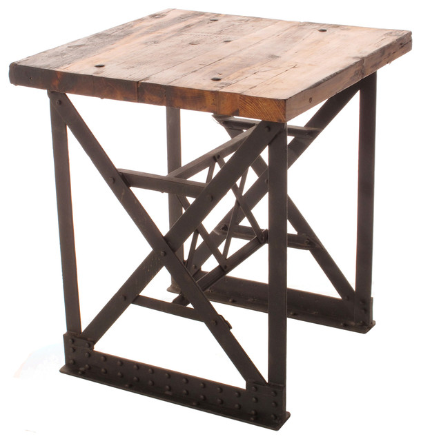 Riveter S Industrial Modern Chunky Wood Side End Table