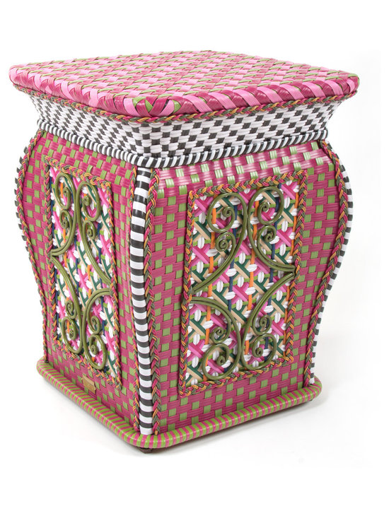 Flower Market Outdoor Garden Perch | MacKenzie-Childs - Inspired by antique Asian garden stools, our garden perch serves as a seat or a side table. Weatherproof, hand-woven synthetic material on powder-coated iron. A new party essential!