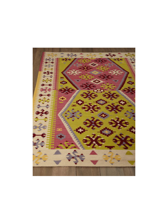 "Dash & Albert Rug Company - Dash & Albert Rug Company ""Tuleta Fiesta"" Rug - With its exuberant pattern in bold hues, this rug brings casual style to modern and contemporary spaces. Handwoven of wool/polyester/cotton. Size is approximate. Imported."