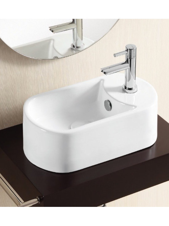 "Caracalla - Unique and Modern Elongated Oval Vessel Sink - This unique bathroom sink with an elongated oval shape is made of high quality white ceramic. The modern above counter vessel sink comes with standard overflow and a single faucet hole. Designed in Italy by Caracalla. Sink dimensions: 15.94"" (width), 5.12"" (height), 8.07"" (depth)"