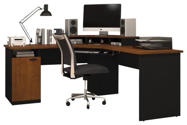 bestar hampton wood home office corner computer desk in