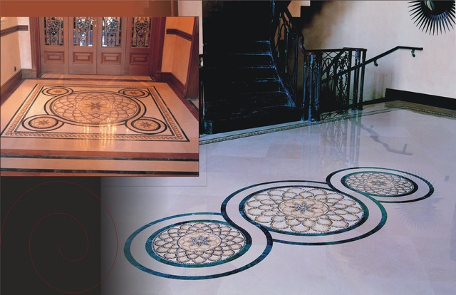 Marble Mosaic Rugs and Medallions contemporary-staircase