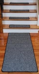 Dean Washable Non-Skid Carpet Stair Treads - Silvered Sky (13) PLUS a 5' Runner modern-stair-tread-rugs