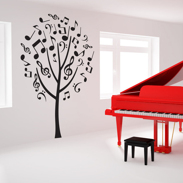 music note tree wall decal repositionable sticker small electric guitar wall stickers music wall art