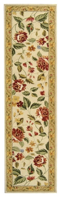 "Country & Floral Chelsea Hallway Runner 2'6""x10' Runner Ivory - Beige Area Rug tropical-rugs"