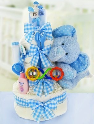 Gingham & Giggles Three Tier Diaper Cake - Boy modern-baby-and-toddler-toys