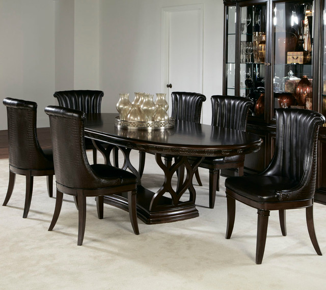 American Drew Bob Mackie 7 Piece Oval Dining Room Set In Dark Brown Contemp