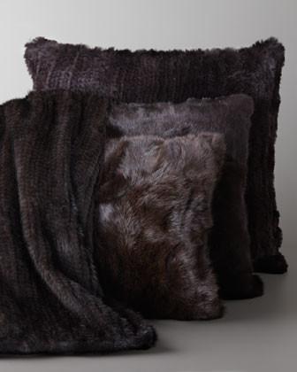 Adrienne Landau Knit Mink Throw & Rabbit Pillow traditional-throws