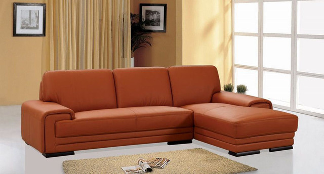 Contemporary Genuine Leather Sectional Modern