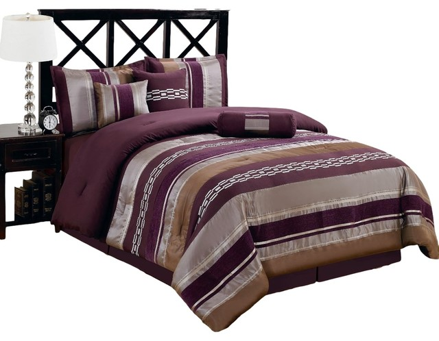 claudia purple 7 piece comforter set king eclectic