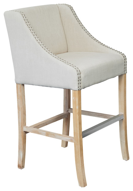 Springfield Single Light Beige Fabric Counter Stool contemporary-bar-stools-and-counter-stools