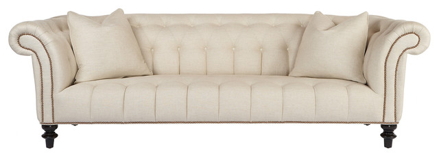"Edith Hollywood Regency Feather Down Ivory Linen Rolled Arm Sofa - 90"" transitional-sofas"