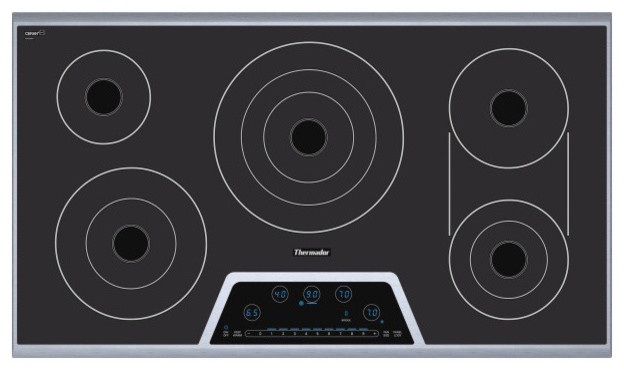 "Thermador Deluxe 36"" Smoothtop Electric Cooktop, Stainless Steel 