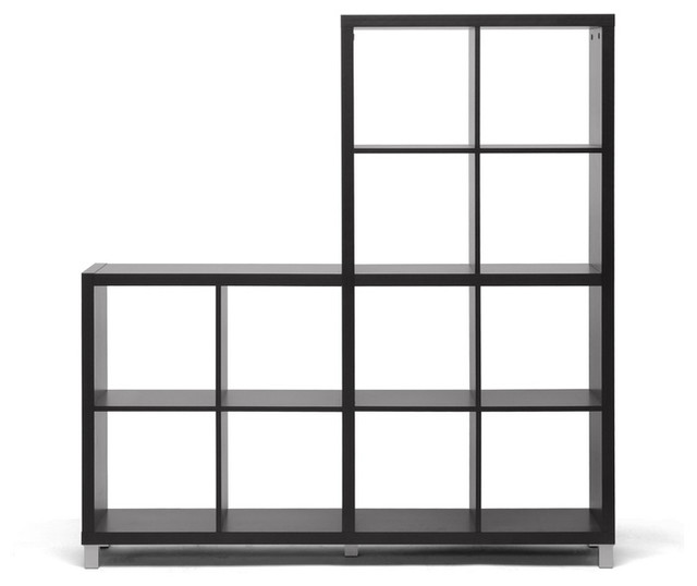 Sunna Dark Brown Modern Cube Shelving Unit - Transitional - Bookcases - by Baxton Studio
