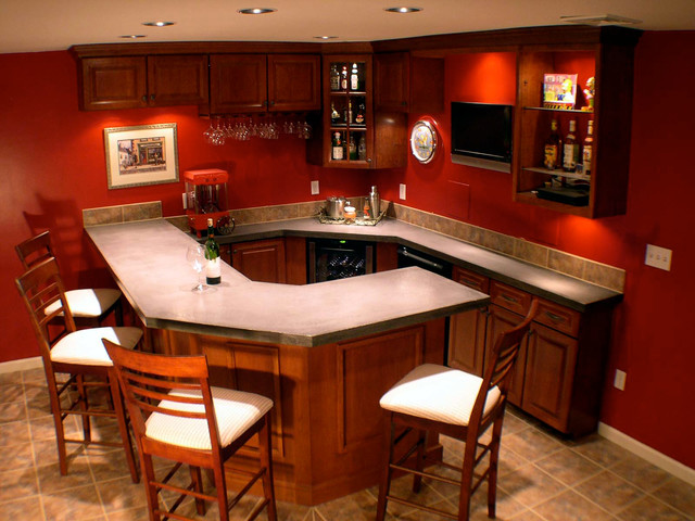 Basement Corner Bar Ideas Basement Bar Traditional