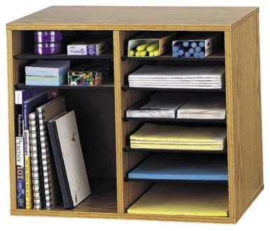 Safco 9420MO Wood Adjustable Literature Organizer with 12 Compartment - Medium O modern-home-office-products