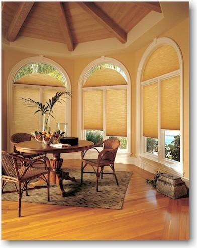 Hunter douglas window treatment for Modern dining room window treatments