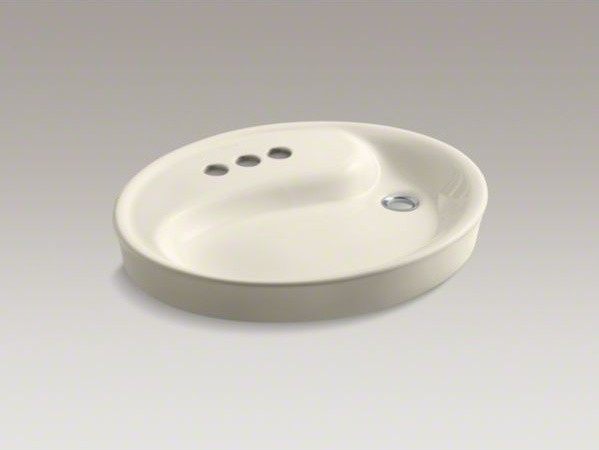 "KOHLER Yin Yang(R) Wading Pool(R) drop-in bathroom sink with 4"" centerset faucet contemporary-bathroom-sinks"