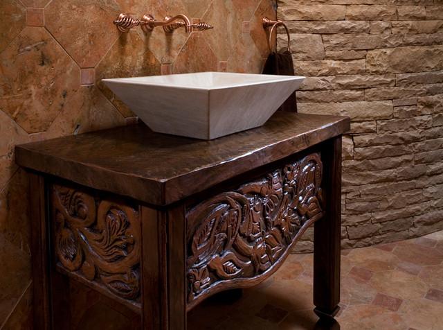 Mediterranean Bathroom Sinks: Custom Wood Carving