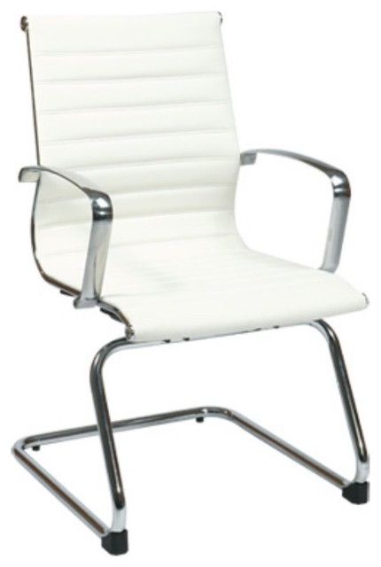 Office star white eco leather guest chair modern office chairs