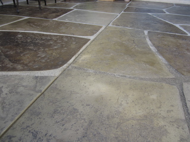 stamped and colored concrete imported stone patio contemporary