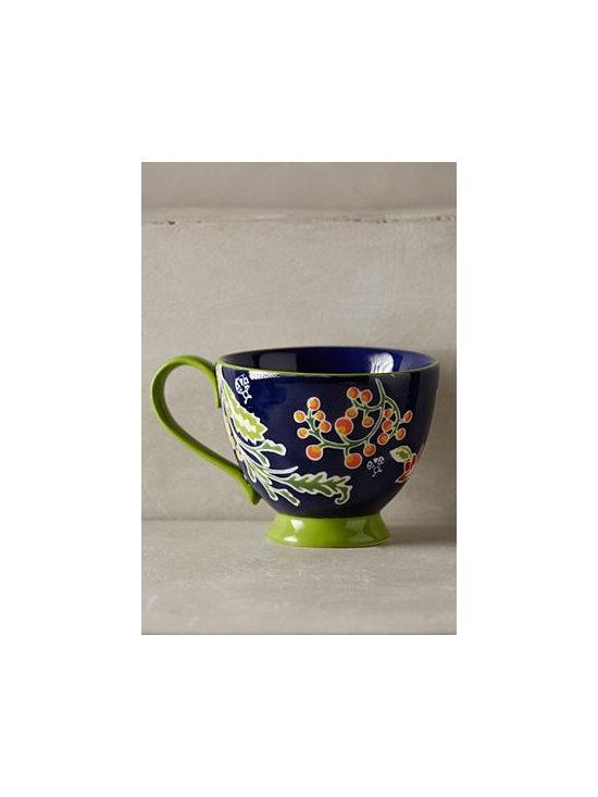 "Anthropologie - Bellina Blooms Mug - Handpainted stoneware. Dishwasher and microwave safe. 13 oz. 3.5""H, 6""W . Imported"