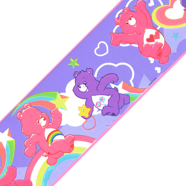 Care bears purple rainbow 12ft wall accent border roll for Care bears wall mural