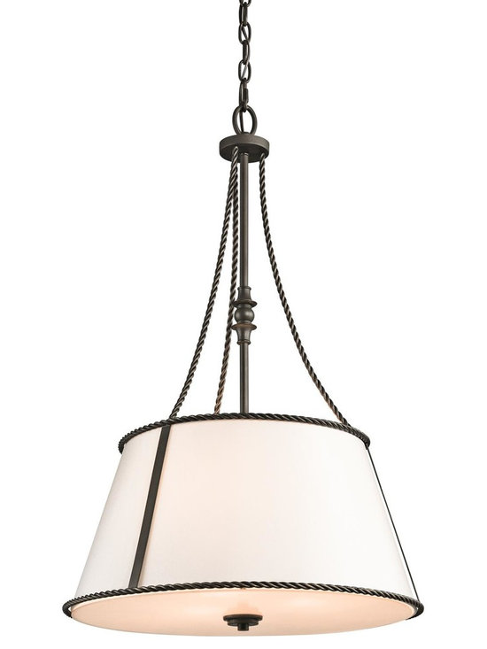 Kichler Lighting - Olde Bronze Donington 5-Bulb Indoor Pendant with Round Fabric Shade - Product