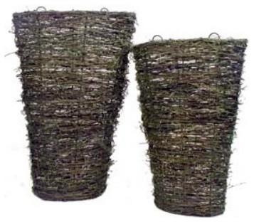Grapevine Natural Tall Wall Basket - Set of 2 modern-baskets