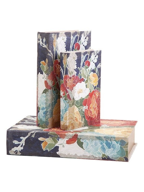 """Imax - Floral Reid Book Boxes - Set of 3 - *Dimensions: 1.25-2-3""""h x 5.75-6.75-8.75""""w x 8.50-10.25-13"""""""