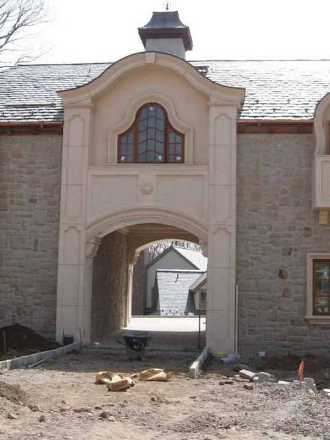 Stucco veneer stone brick and arcusstone traditional for How to install stone veneer over stucco