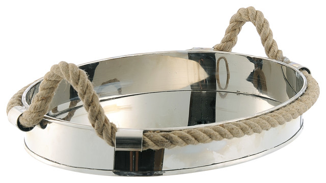 Nautical Rope Polished Silver Modern Serving Tray beach-style-serveware