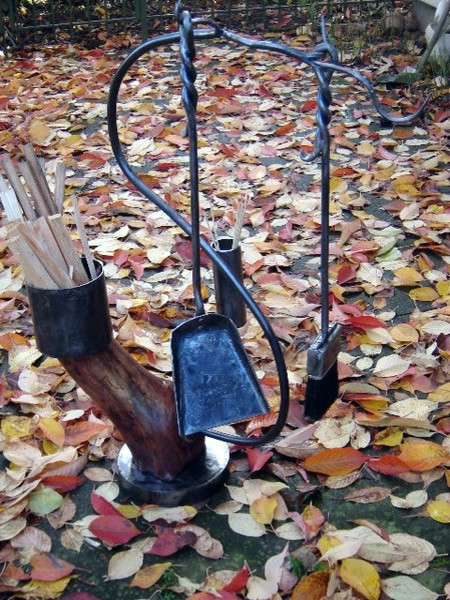 Fireplace Tool Set with Branch Stand eclectic fireplace accessories