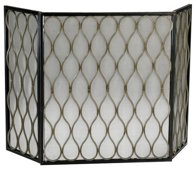 Cyan Design Gold Mesh Fireplace Screen contemporary-indoor-fireplaces