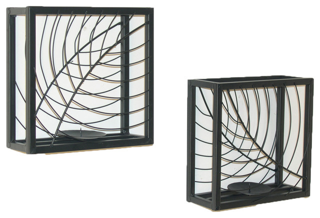 Set of Two Black Metal Shadow Box Candleholders contemporary-candleholders
