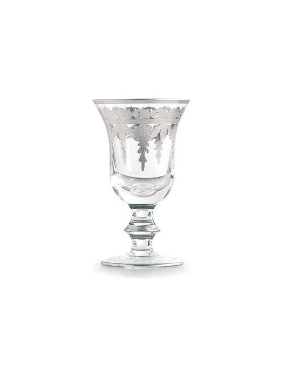 "Arte Italica Vetro Silver Water/Wine Glass - set of four - Artisans outside of Florence, beautifully combine luxurious materials, intricate detail and subtle touches. This piece is hand-etch and painted with sterling silver highlights. Italian glass, Hand made in Italy. Hand wash only. Dimensions: 6.5"" H"