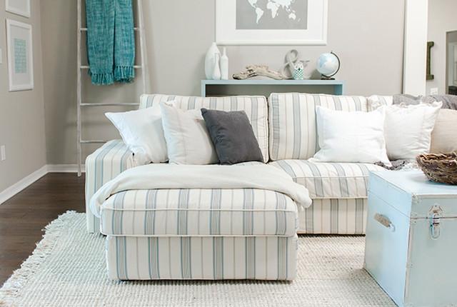 Custom nautical sofa slipcover beach style upholstery fabric