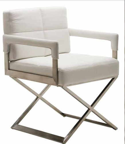 White Naugahyde Dining Armchair contemporary-accent-chairs