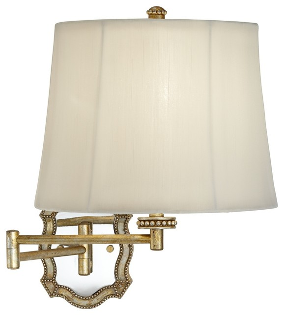 Traditional Scalloped Champagne Gold Plug-In Swing Arm Wall Lamp - Traditional - Swing Arm Wall ...