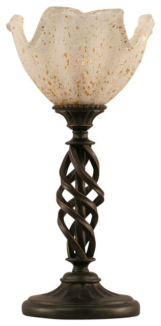"Toltec 61-DG-755 Dark Granite Finish Mini Table Lamp with 7"" Gold Ice Glass transitional-table-lamps"
