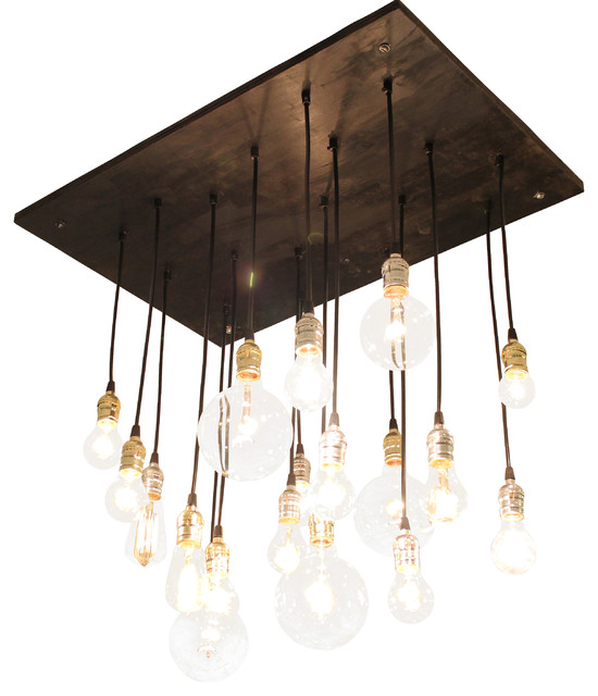 Medium Urban Chandelier, Ebony With Black Cord and Gold/Silver Hardware industrial-chandeliers