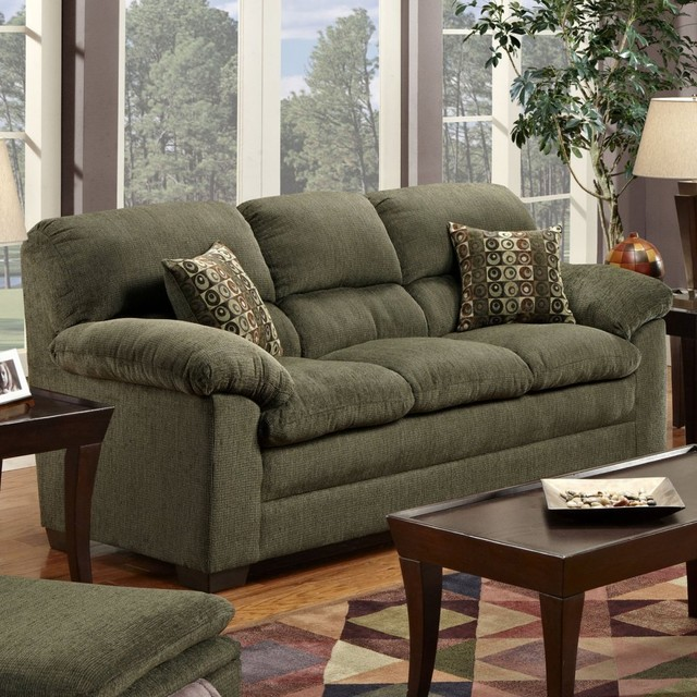 Simmons Radar Forest Chenille Sofa With Accent Pillows