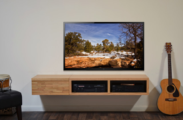 Floating Wall Mounted Two Piece TV Stands - Mayan Natural