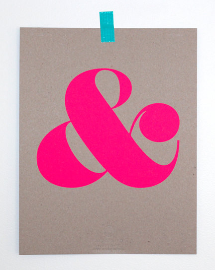 Ampersand Screen Print, Neon Pink by Ampersand Shop contemporary-artwork