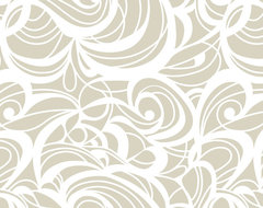 """Champagne Swirl Linen Tablecloth, 108"""" Round contemporary-tablecloths"""