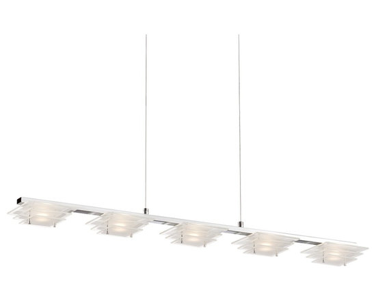 """Possini Euro Design - Possini Euro Tifton 36 1/2"""" Wide Glass LED Island Pendant - Tifton contemporary island pendant light. By Possini Euro Design. Square glass. Chrome finish. Includes five 5 watt LEDs. Light output is 300 lumens each. Each LED comparable to a 35 watt incandescent bulb. 2700K color temperature. Includes 10 feet cable for hanging. 36 1/2"""" wide. 5"""" deep.  Tifton contemporary island pendant light.  By Possini Euro Design.  Square glass.  Chrome finish.  Dimmable using an electronic low voltage dimmer or an LED rated dimmer.  Includes five 5 watt LEDs.  Light output is 300 lumens per LED (1500 lumens overall).  Each LED comparable to a 35 watt incandescent bulb.  Overall light output comparable to a 100 watt incandescent.  2700K color temperature.  Includes 10 feet cable for hanging.  Measures 36 1/2"""" wide 5"""" deep 2"""" high.  Rectangular canopy is 12 1/2"""" wide 4 1/2"""" deep 3"""" high.  Hang weight is 7 pounds."""