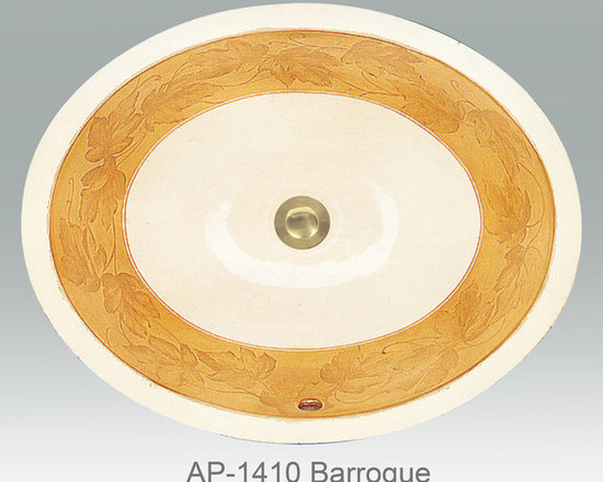 "Hand Painted Undermounts by Atlantis Porcelain - ""BARROQUE"" Shown on AP-1410 white Monaco Small undermount 15-3/4""x12-3/4"".Available on bright or burnished gold and bright or burnished platinum on any of our sinks."